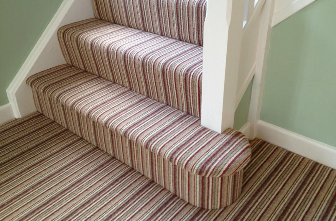 expertly fitted striped carpets