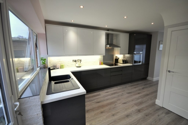 Installation of open plan kitchen including electrical rewiring in Poole