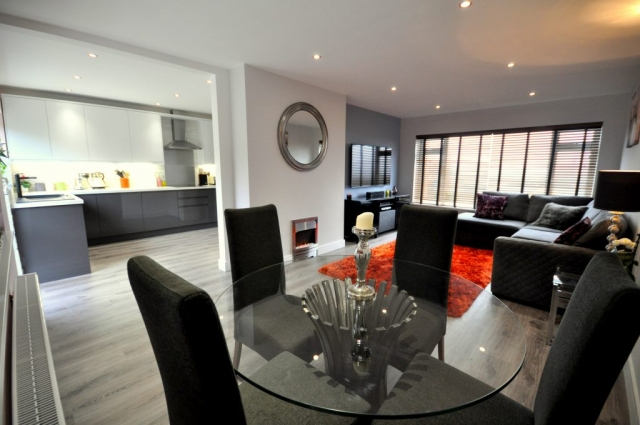 Refurbished open plan living space with electrical rewiring, new lights, kitchen and flooring in Poole