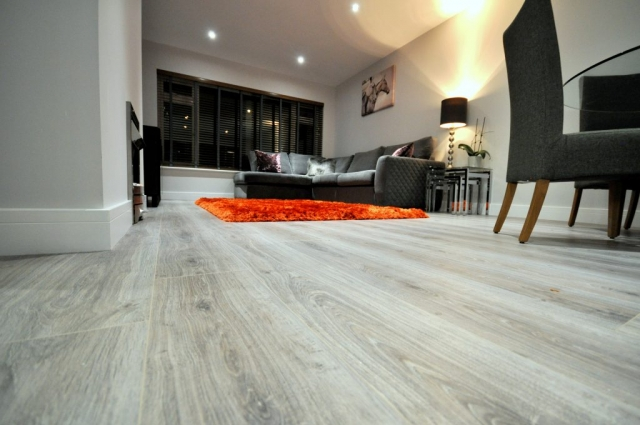 Open plan living space refurbished to include electrical rewiring and new flooring in Poole
